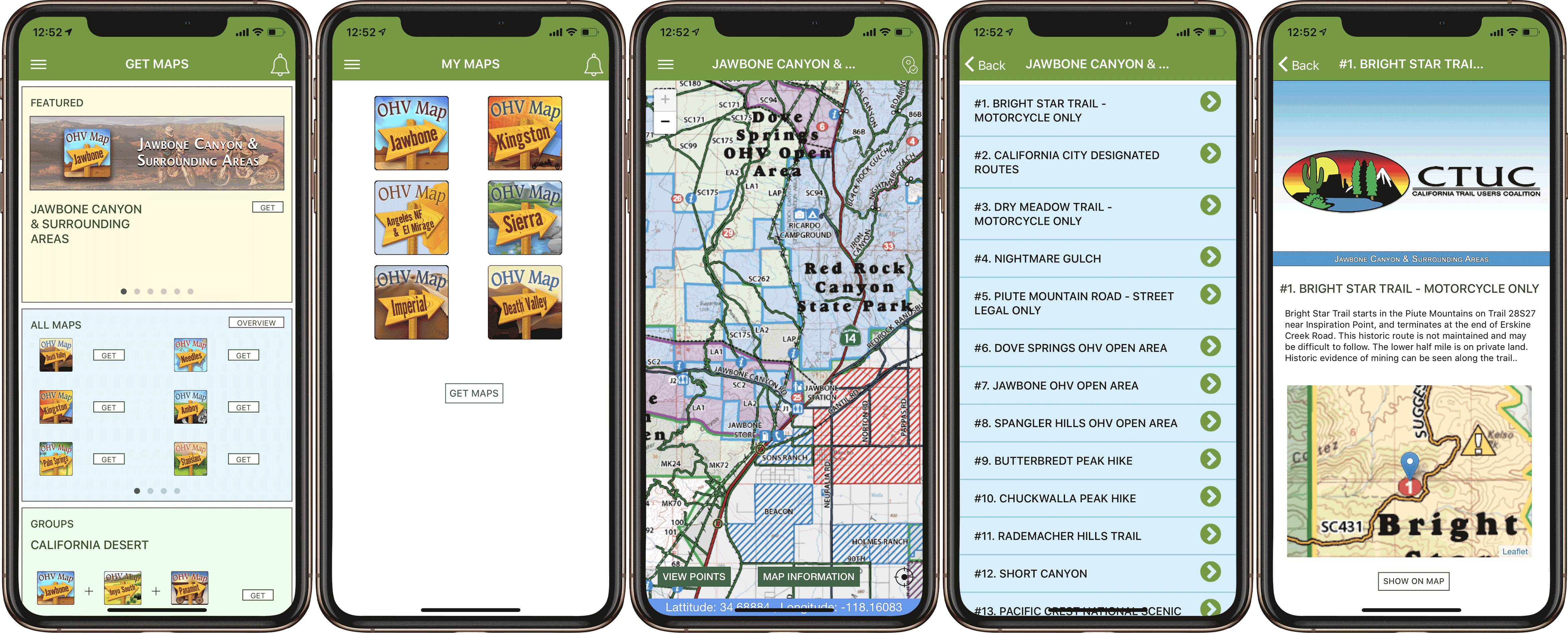 Screenshots of the OHV Trail Map California App.